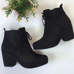 Eileen Fisher Vim Lace-Up Nubuck Ankle Booties